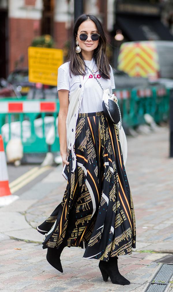 Printed Skirt + T-Shirt + Vest + Boots