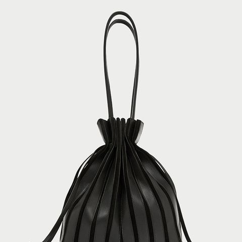 Leather Bucket Bag With Gussets Detail