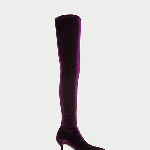 Velvet Over-the-Knee High Heel Boots