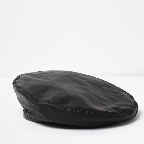 Black Faux Leather Trim Beret