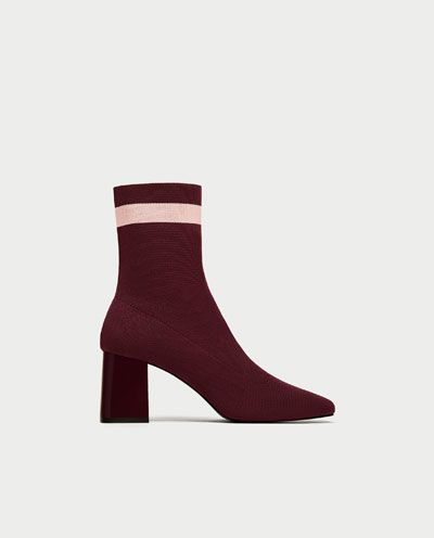 Zara Striped High Heel Sock-Style Ankle Boots