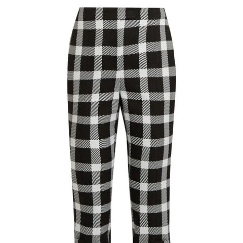Checked Wool-Blend Cropped Trousers