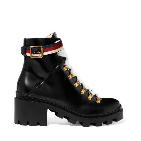 Grosgrain-Ttrimmed Leather Ankle Boots