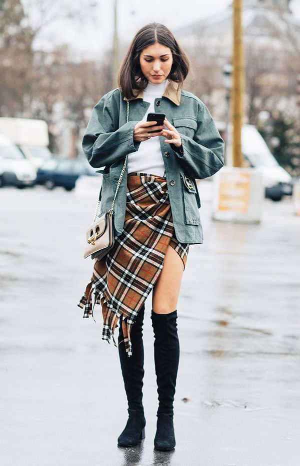 Plaid Wrap Skirt + Turtleneck + Utility Jacket + Over-the-Knee Boots