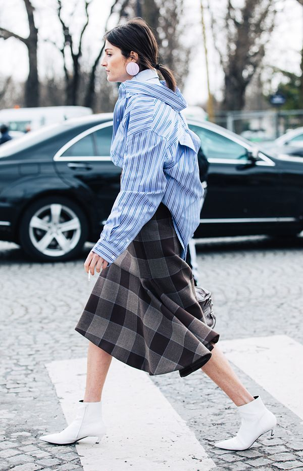 Plaid Skirt + Layered Button-Down Shirts + Kitten-Heel Ankle Boots
