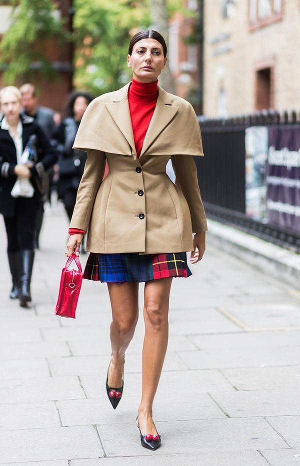 Plaid Pleated Miniskirt + Hourglass Jacket + Turtleneck + Slingback Pumps