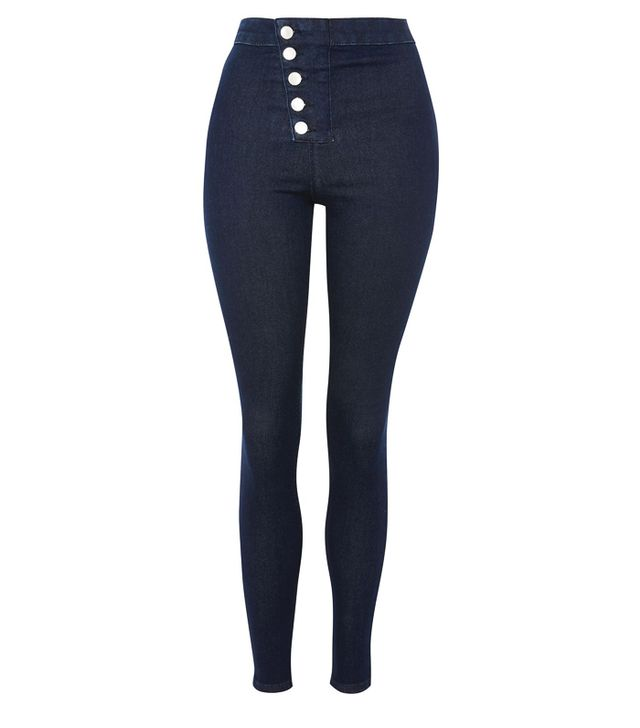 Best Jeans for Big Butts: Topshop MOTO Blue Angle Button Indigo Joni Jeans