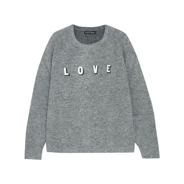 Period pain: Love Stories Jerry Appliquéd Ribbed-knit Sweater