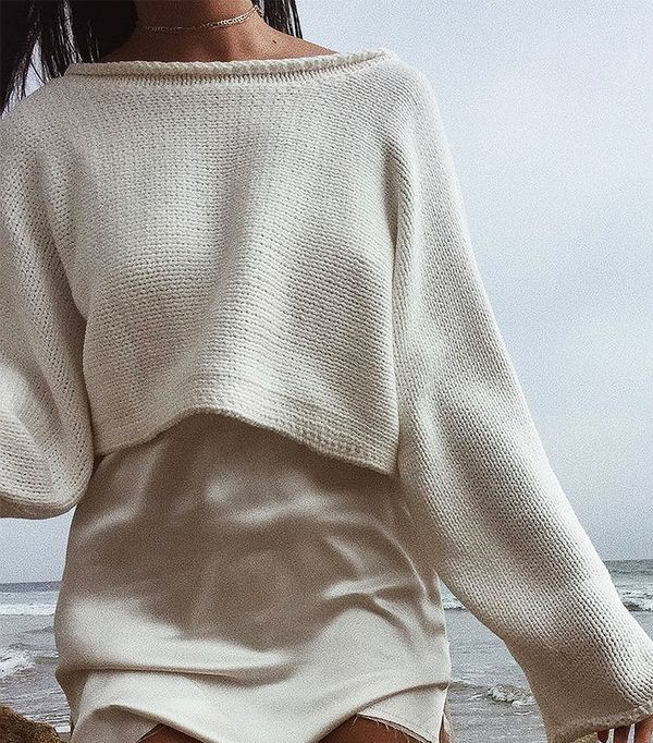 Roll-Neck Cropped Sweater - White S at Urban Outfitters