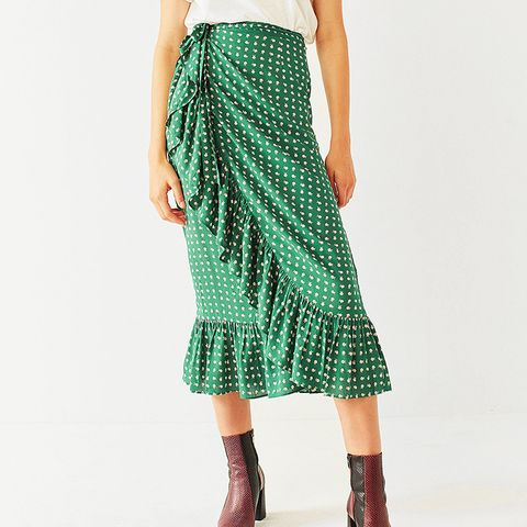 Ruth Ruffle Wrap Midi Skirt