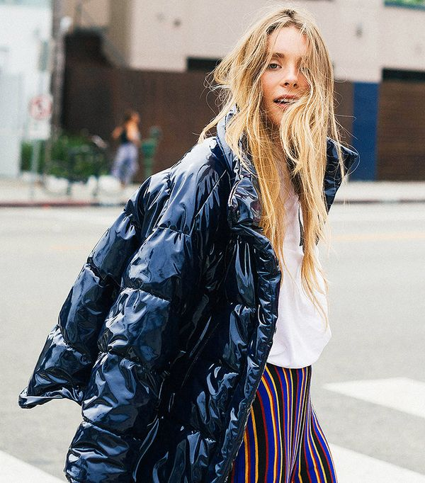 Ramola Wet-Look Puffer Jacket - Blue M at Urban Outfitters