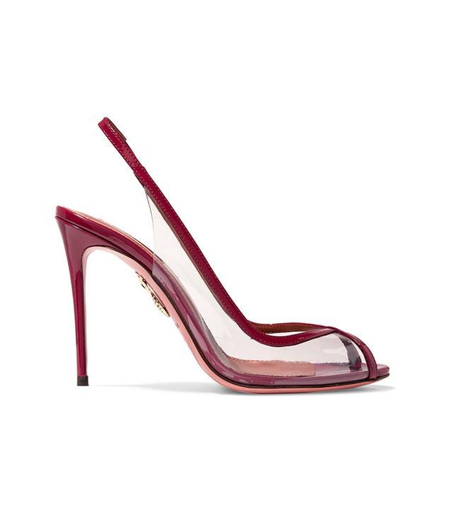 Temptation Patent Leather-trimmed Pvc Slingback Sandals
