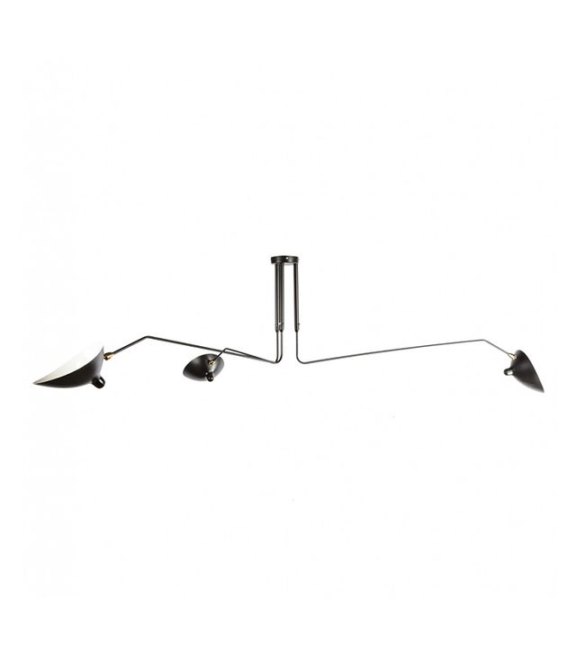 France & Son Three-Arm Ceiling Lamp in Black