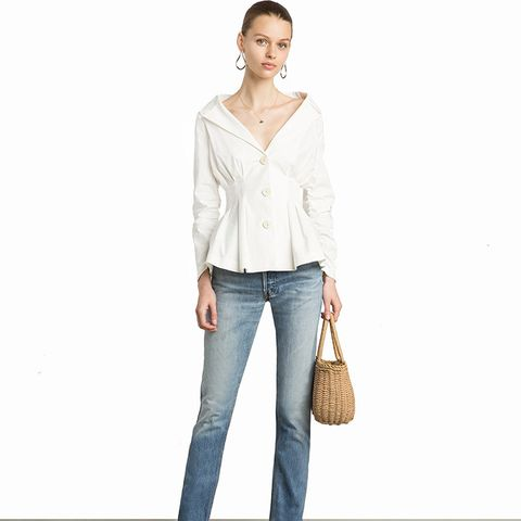 Biana Linen Button Cinched-Waist Jacket