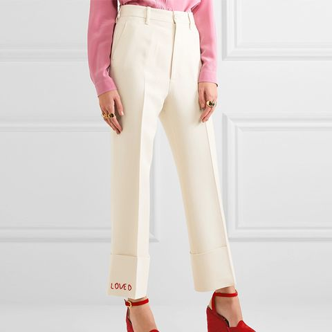 Embroidered Wool and Silk-Blend Flared Pants