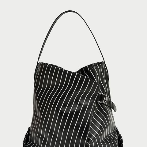 Striped Print Leather Bucket Bag