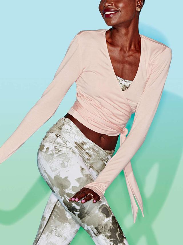 JoyLab Blush Long-Sleeve Wrap T-Shirt