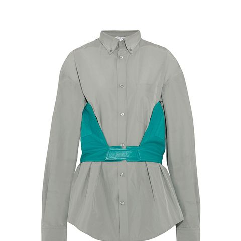 Cotton-Blend Poplin and Leather Shirt