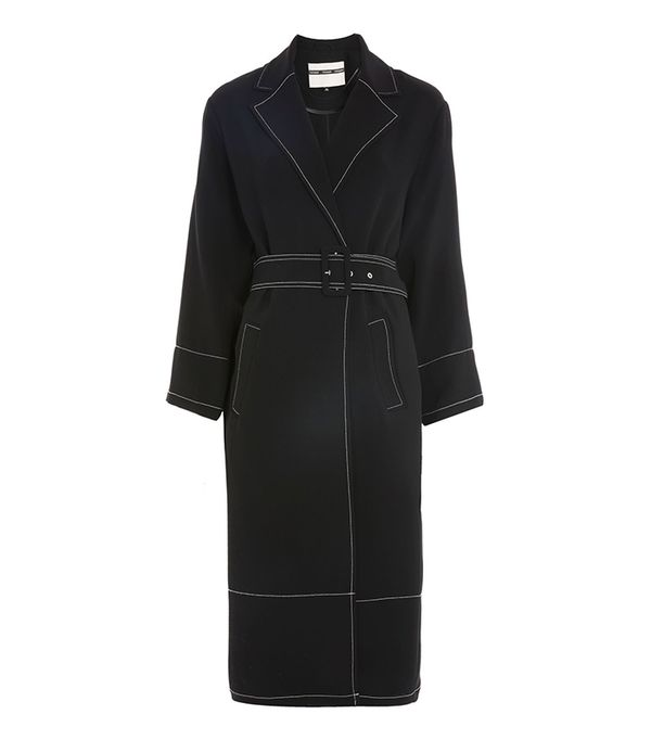 Contrast Stitch Duster Coat