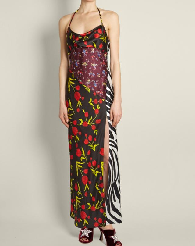 Attico Floral-Print Halterneck Satin Dress