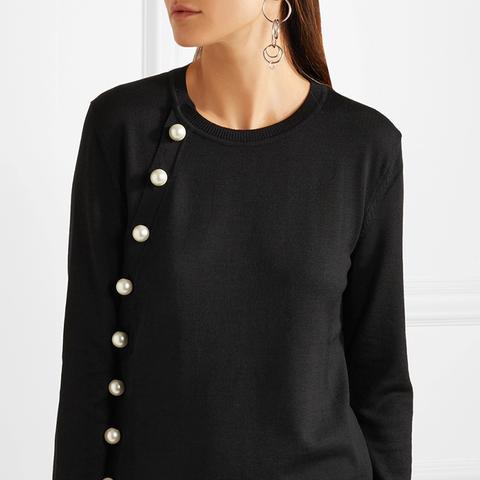 Minamoto Pearl-Embellished Merino Wool Sweater