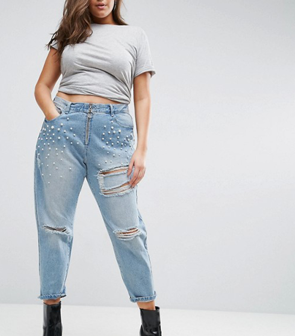 Mom Jean with Pearl Detail and Exposed Zip