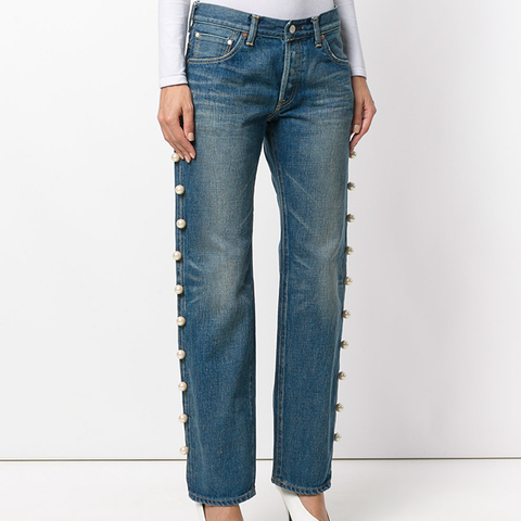 Jeans With Side Trim Pearl Embellishment