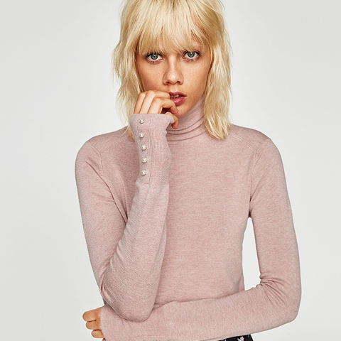 Polo Neck Sweater With Pearly Buttons