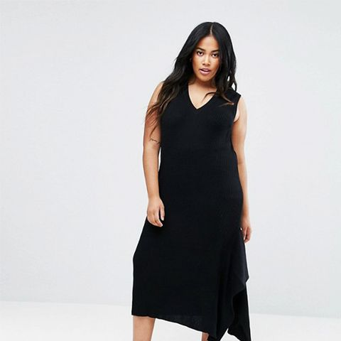 Knitted Dress With V Neck and Hem Detail