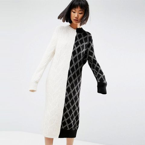Deconstructed Knit Sweater Dress