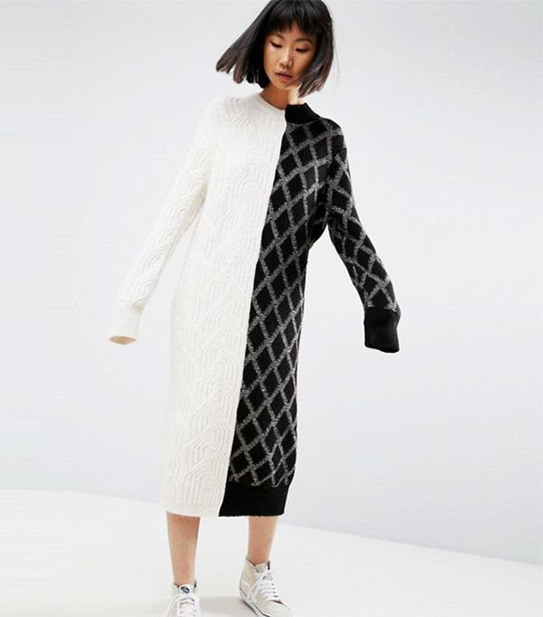 ASOS WHITE Deconstructed Knit Sweater Dress
