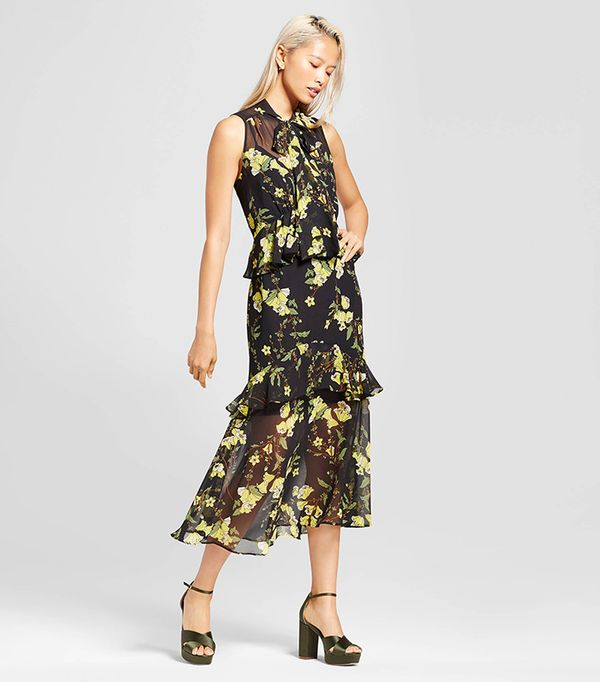 Tiered Ruffle Midi Dress- Black/yellow Floral S