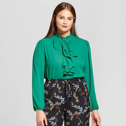 Frilled Button-Up Blouse