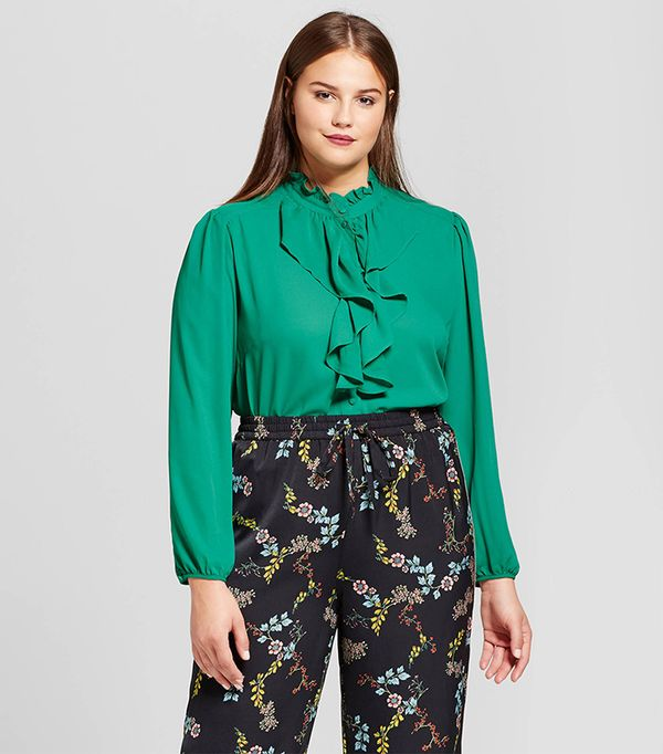 Plus Size Frilled Button-up Blouse
