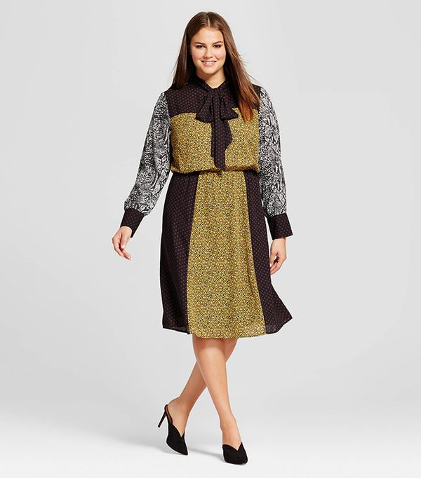 Plus Size Bow Tie Midi Dress