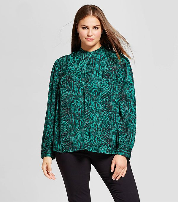 Plus Size Long Sleeve Silky Doll Blouse