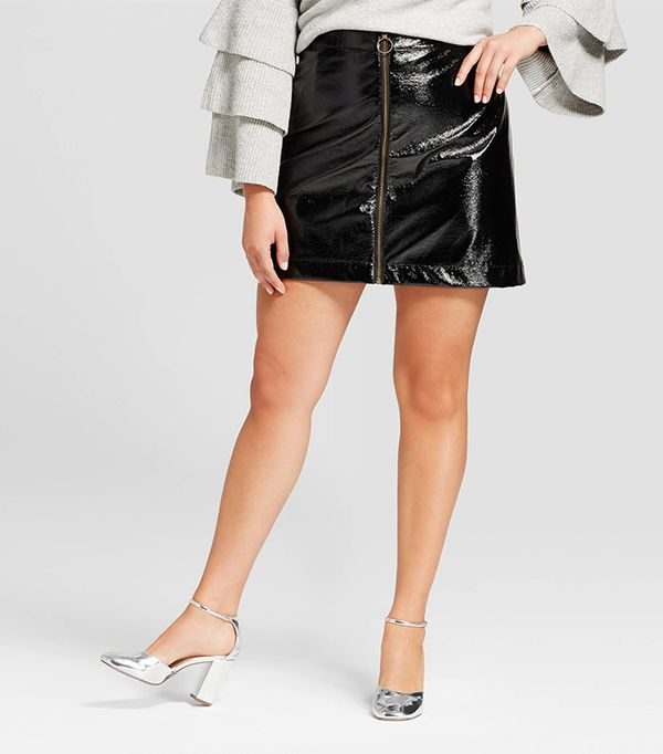 Plus Size Zip Front Moto Skirt