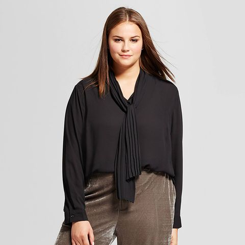 Long Sleeve Pleat Tie Neck Blouse