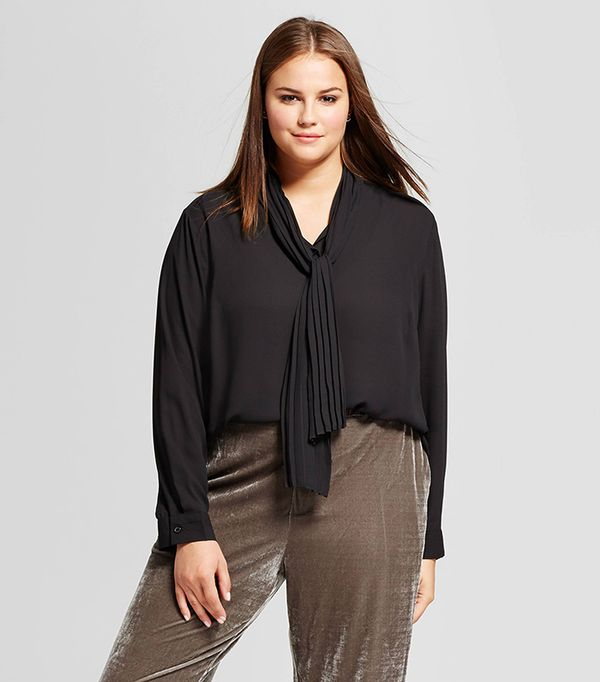 Plus Size Long Sleeve Pleat Tie Neck Blouse