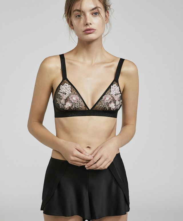 Oysho Dotted Mesh Bra With Embroidered Birds