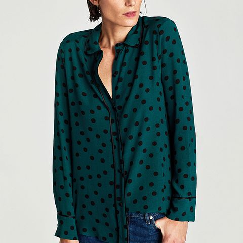 Polka Dot Shirt With Contrasting Piped Seams