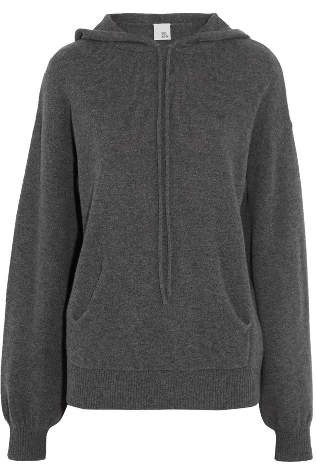 - Anya Cashmere Hooded Sweater - Gray