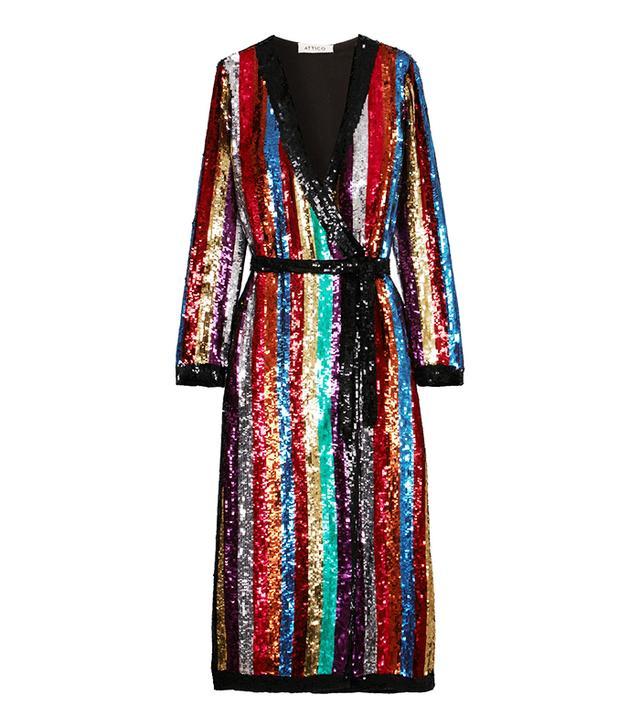 Grace Striped Sequined Georgette Wrap Dress