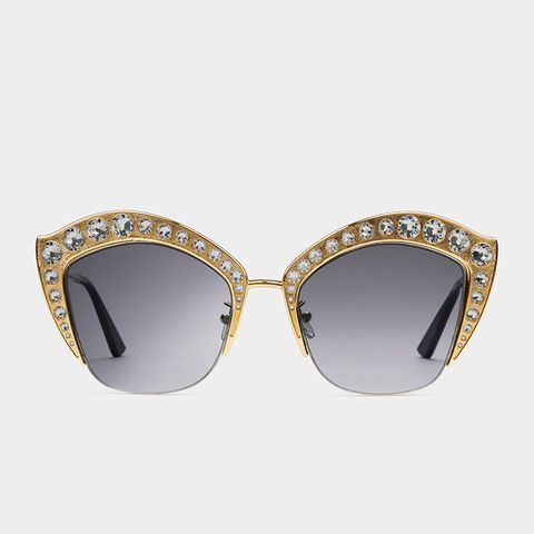 Cat Eye Metal Sunglasses With Crystals