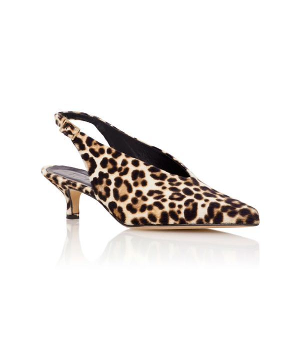 Lia Leopard-Print Calf Hair Slingback Pumps