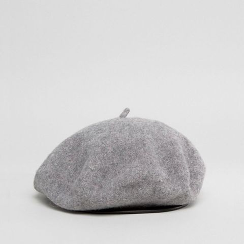 Wool Beret With Leather Look Bound Edge