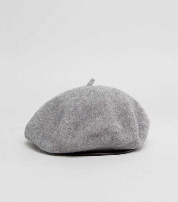 Wool Beret In Gray With Leather Look Bound Edge