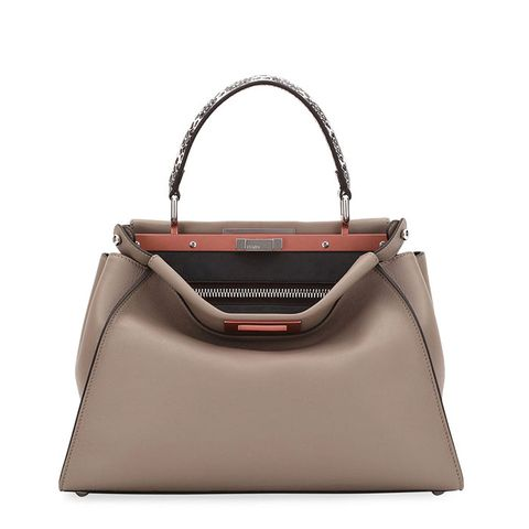 Peekaboo Medium Leather Snake-Handle Satchel Bag