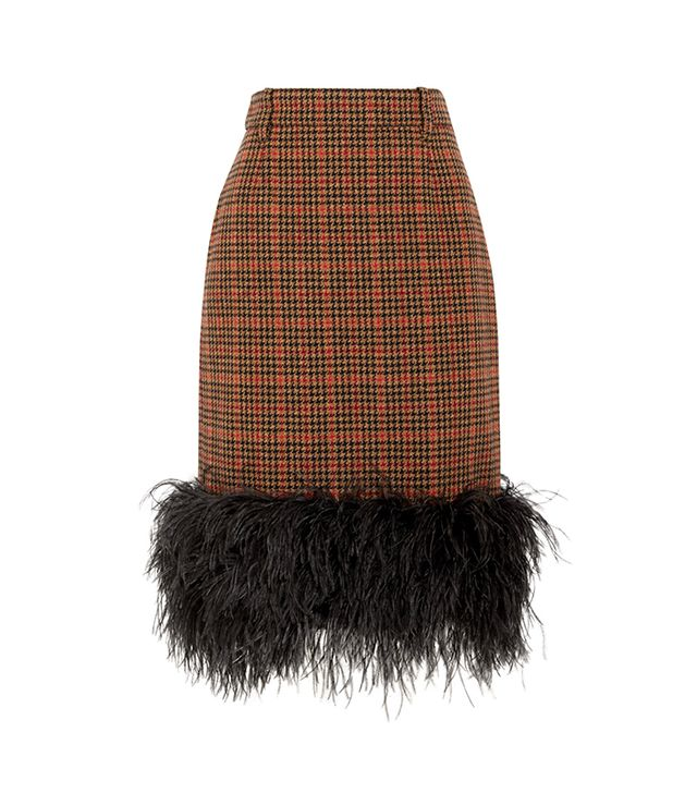 Feather-trimmed Checked Wool-blend Tweed Skirt