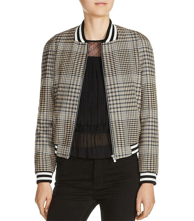 Houndstooth Plaid Bomber Jacket
